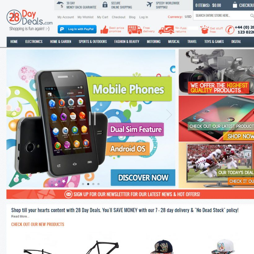 28 Day deals ecommerce drop shipping website