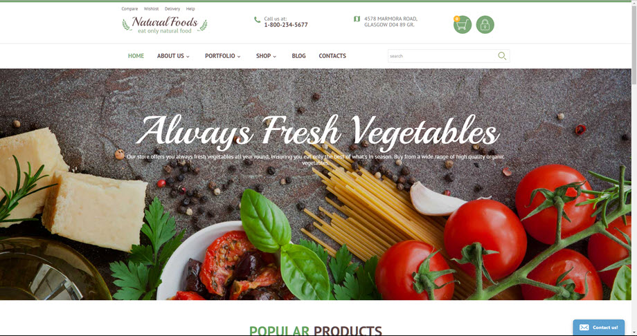 Natural foods store web template theme for sale