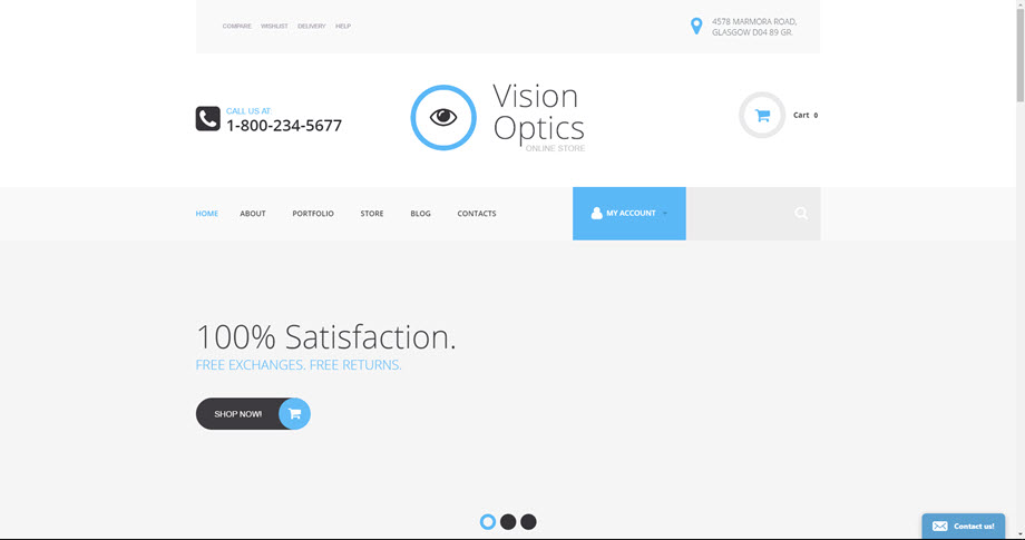 Vision and Optics contact lenses store theme website business opportunity