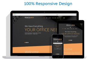 Office pens and pencils supplies website template business
