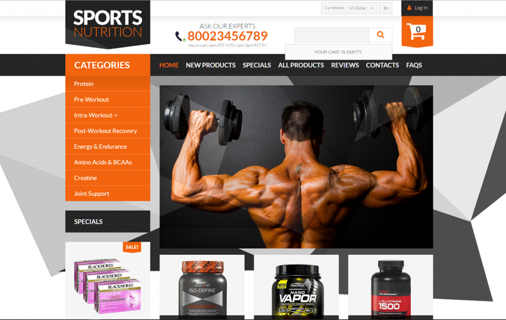 Sports nutrition supplements online website business opportunity for sale