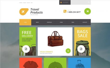 Travel products website theme template business for sale