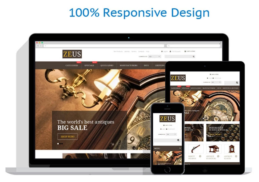 Responsive antiques drop ship website