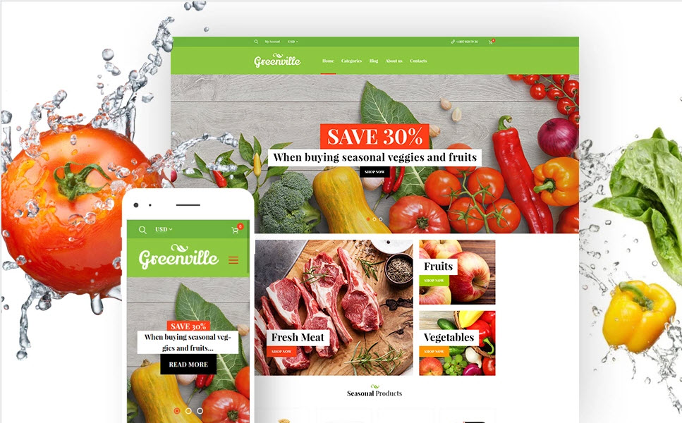 Organic foods business website template to buy for sale