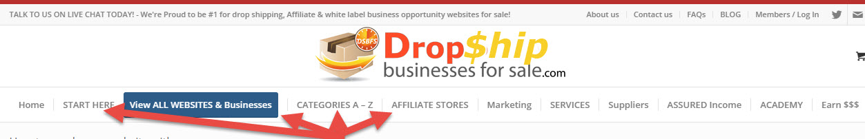Browse drop shipping internet websites for sale