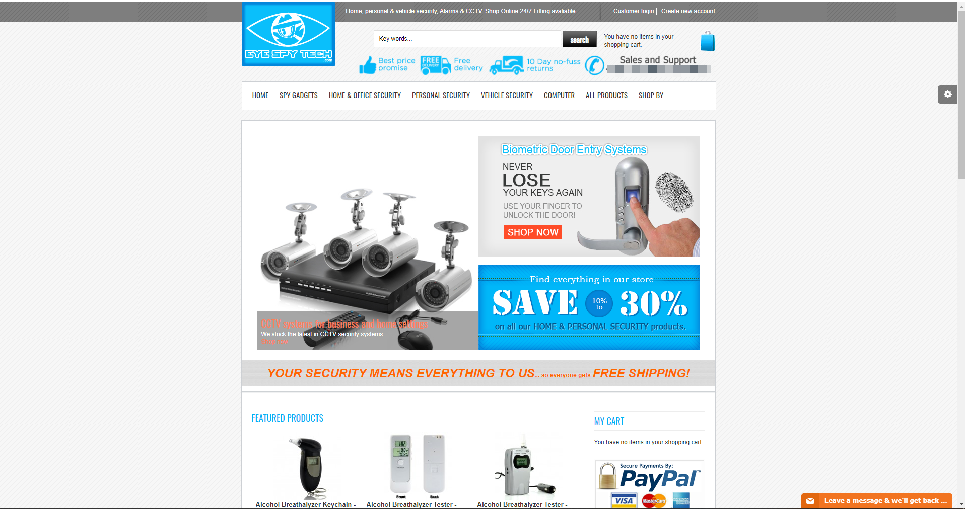 Eye spy tech E-commerce website is for sale